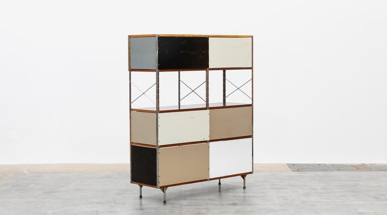 Mid-20th Century 1940s Multicolored Plywood, Fiberglass, Metal ESU Shelf Charles & Ray Eames For Sale