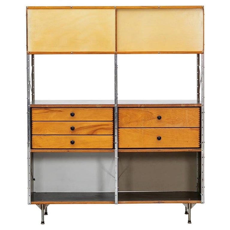 1940s Multicolored Plywood, Fiberglass, Metal ESU Shelf Charles & Ray Eames For Sale