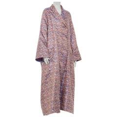 1940s Multicolored Silk Jaquard Duster Coat Robe