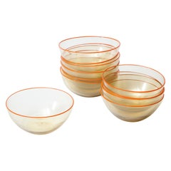 1940s Murano Clear Glass Bowls with Orange Rim, Set of 11