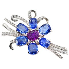 1940s Natural Blue and Purple Sapphire Diamond Platinum Brooch