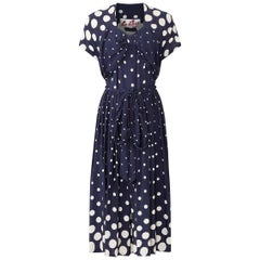 1940s Navy And White Polkadot Dress With Bow Detail and Waist Tie