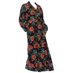 1940S Navy Blue Cotton Flannel Orange & Floral Duster Robe