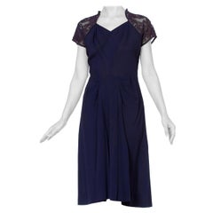 1940'S Navy Blue Rayon Crepe Dress With Embroidered Sheer Back