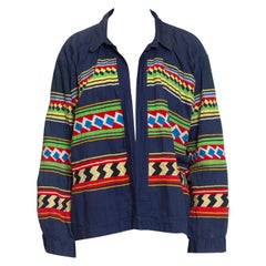 1940S Navy Blue Patchwork Cotton Florida Seminole Native American Jacket With R