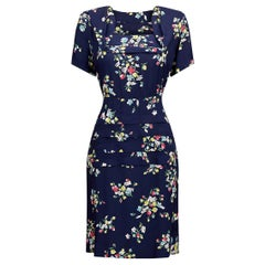 1940s Navy Blue Rayon Dress With Floral Novelty Print