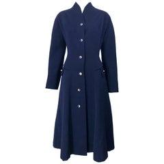 1940s Navy Blue Sleek Deco Style Vintage 40s Princess Jacket Coat w/ Pockets