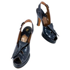 1940s Navy Leather Sling-Back Platform Heels