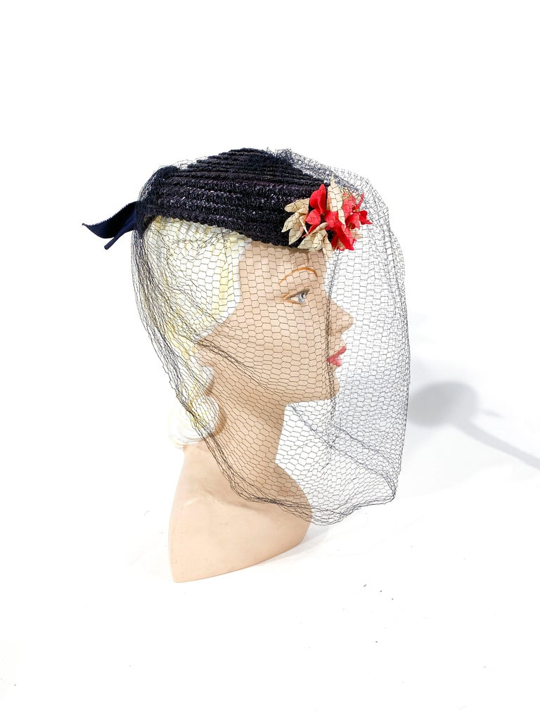 Gray 1940s Navy Straw Perch Hat For Sale
