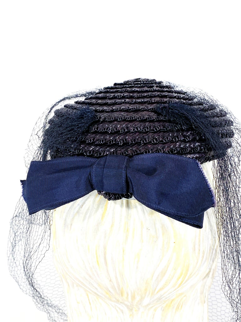 Women's 1940s Navy Straw Perch Hat For Sale