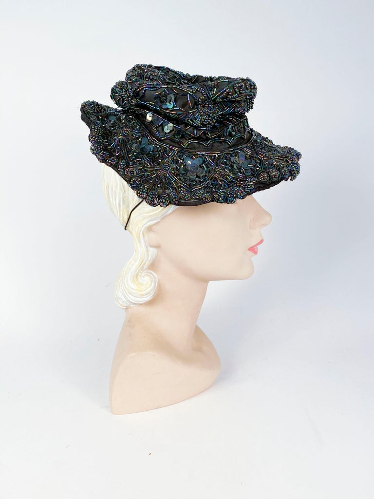 1940s Navy Toy Hat with Beading In Good Condition For Sale In San Francisco, CA
