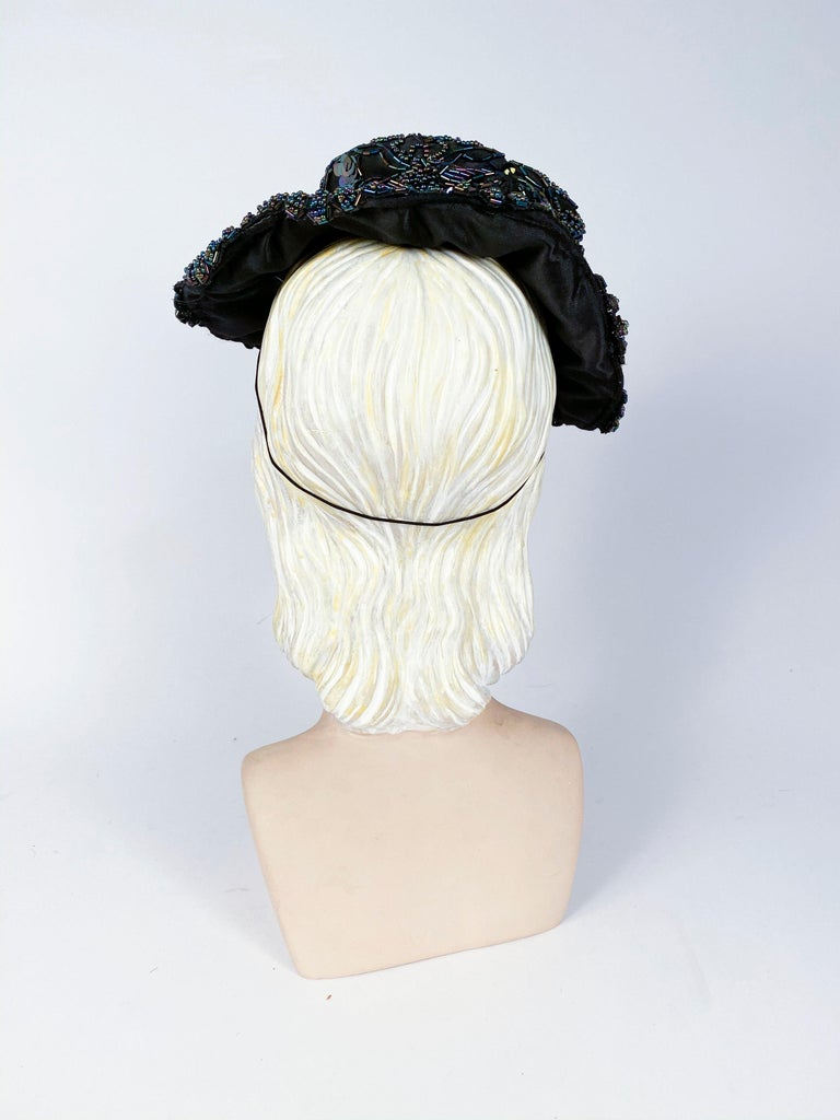 Women's or Men's 1940s Navy Toy Hat with Beading For Sale