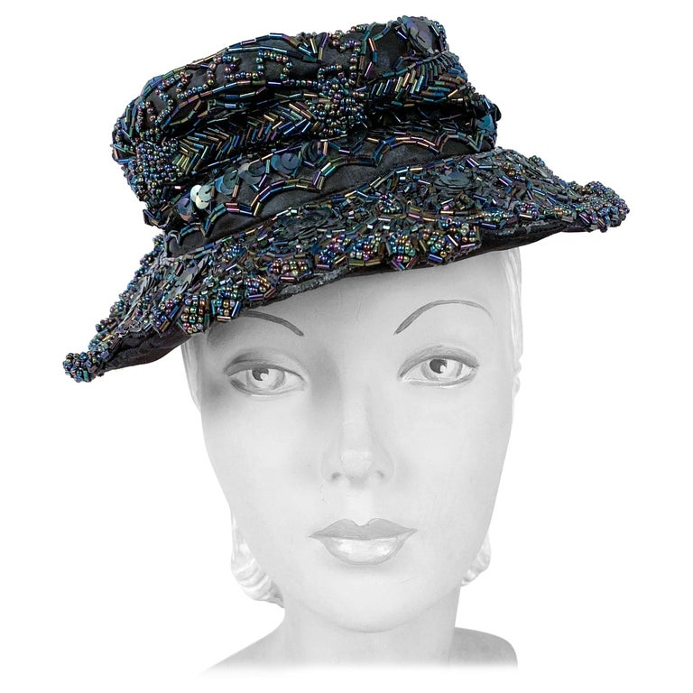 1940s Navy Toy Hat with Beading For Sale