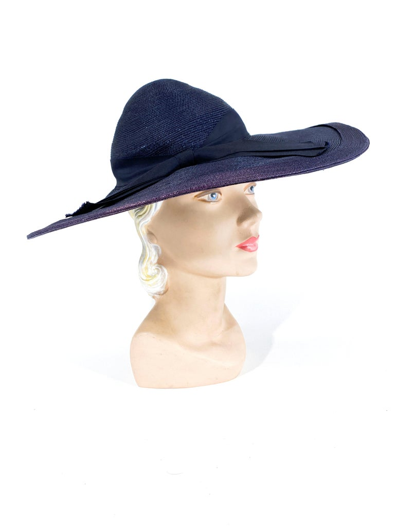 Gray 1940s Navy Woven Straw Wide-Brimmed Hat For Sale