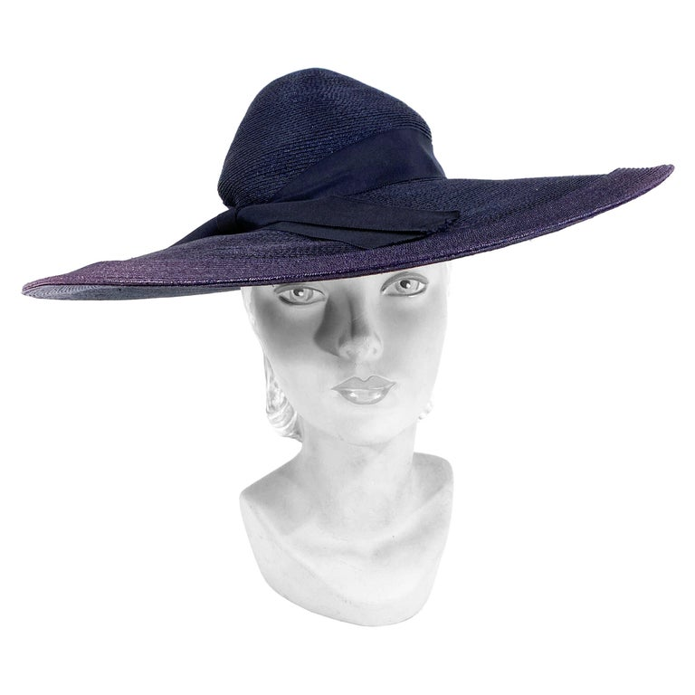 1940s Navy Woven Straw Wide-Brimmed Hat For Sale