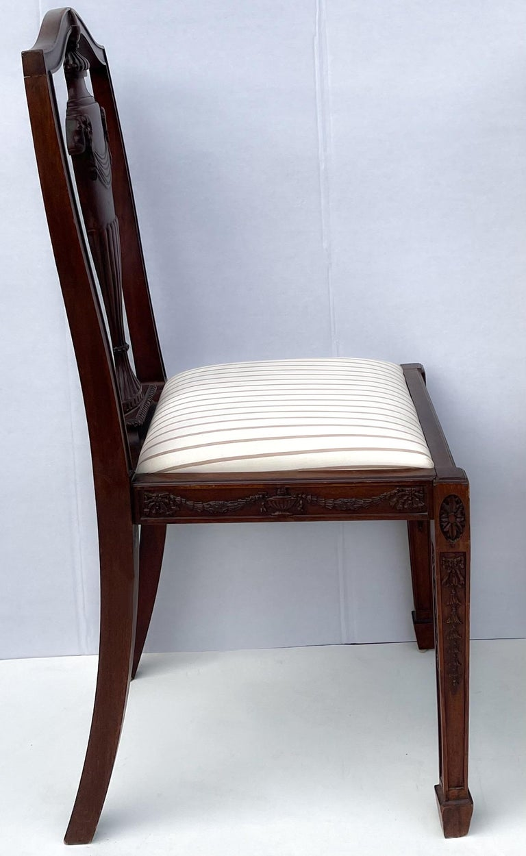 Neoclassical 1940s Neo-Classical Style Carved Mahogany Side Chairs, Pair For Sale