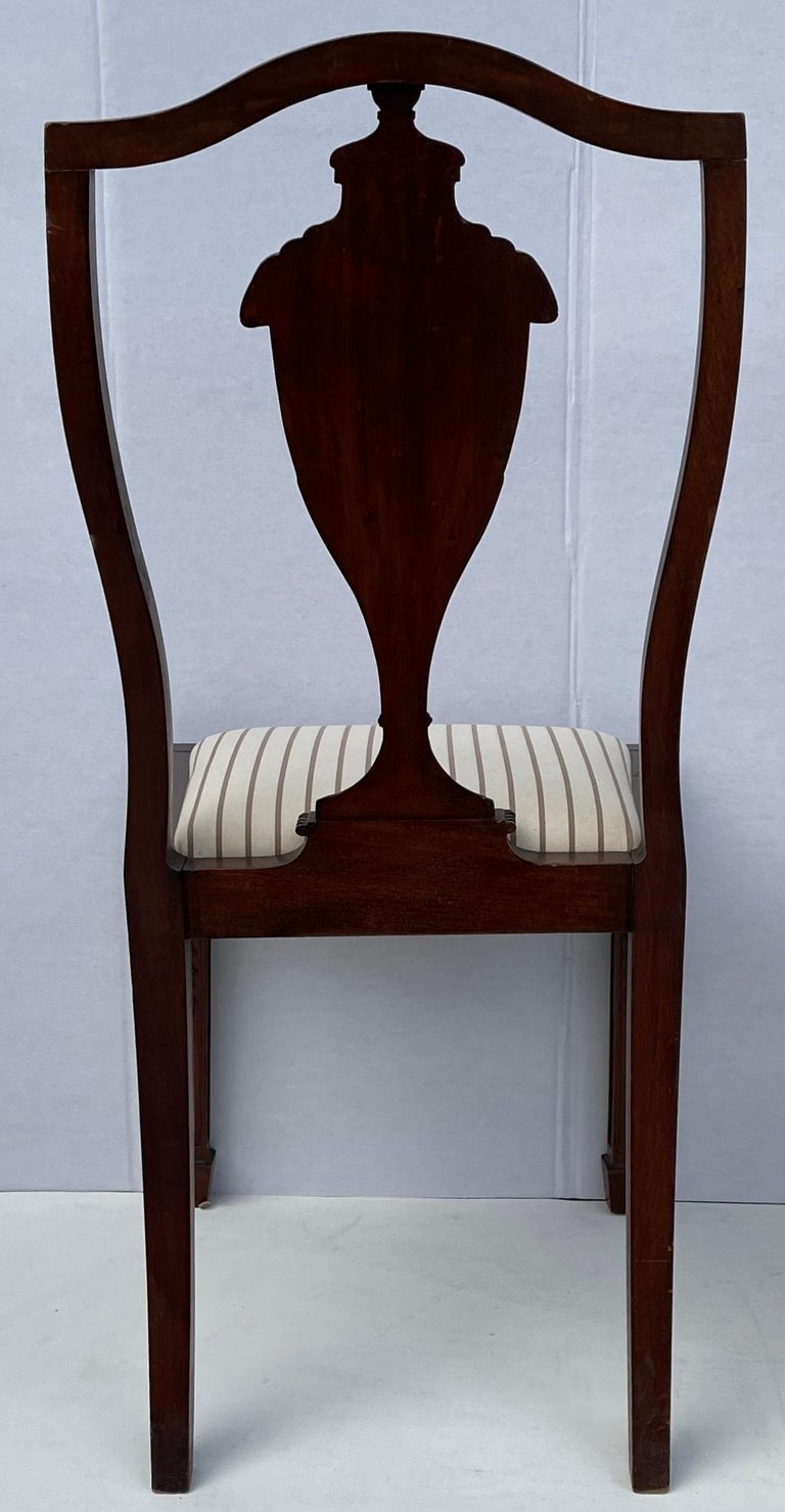 American 1940s Neo-Classical Style Carved Mahogany Side Chairs, Pair For Sale