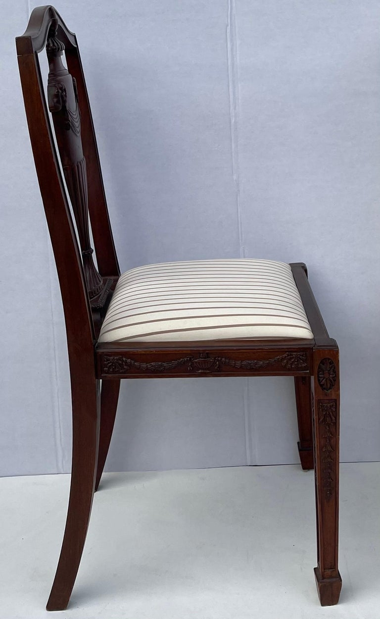 1940s Neo-Classical Style Carved Mahogany Side Chairs, Pair In Good Condition For Sale In Kennesaw, GA