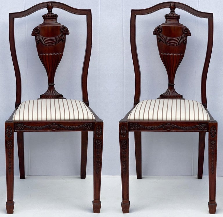 1940s Neo-Classical Style Carved Mahogany Side Chairs, Pair For Sale 2