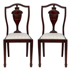 1940s Neo-Classical Style Carved Mahogany Side Chairs, Pair