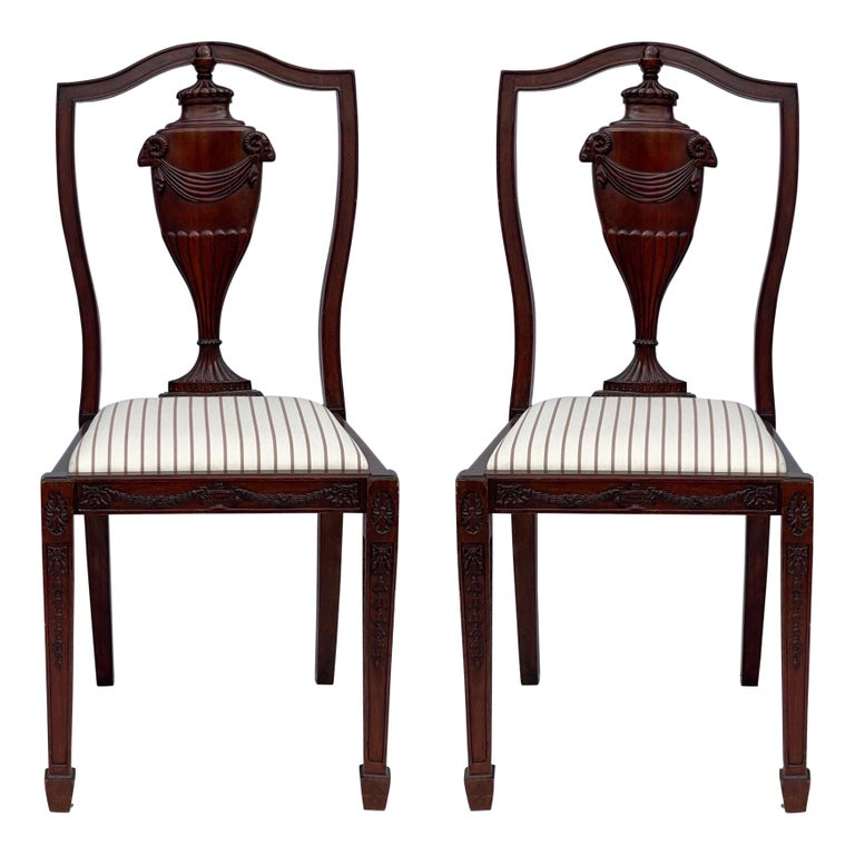 1940s Neo-Classical Style Carved Mahogany Side Chairs, Pair For Sale