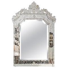 1940s Neoclassical Beveled Mirror, Acid Engraved Mirror Frame, Spain, Majorca