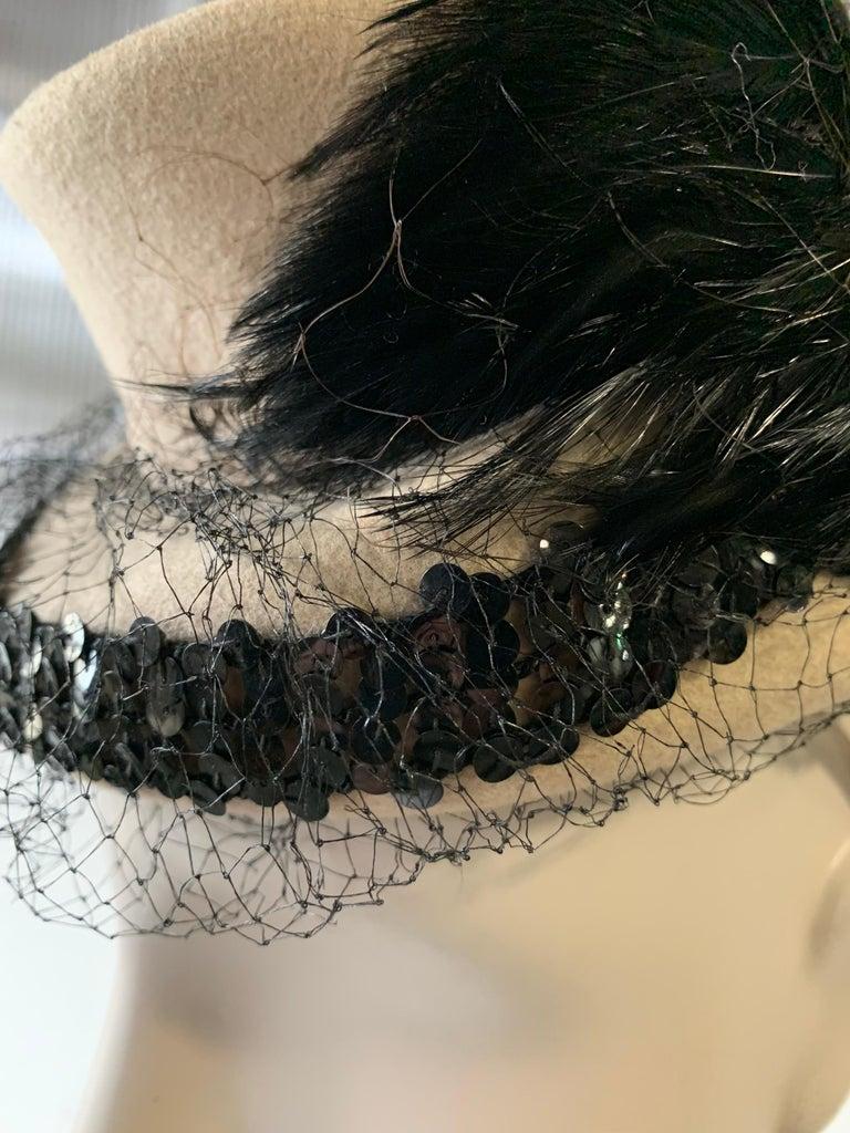 1940s New York Creations Ecru Wool Tilt Top Hat W/ Feathers Sequins & Veil For Sale 8