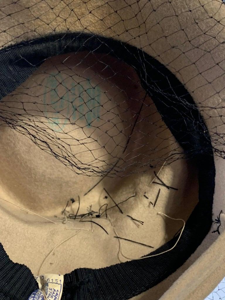 1940s New York Creations Ecru Wool Tilt Top Hat W/ Feathers Sequins & Veil For Sale 9