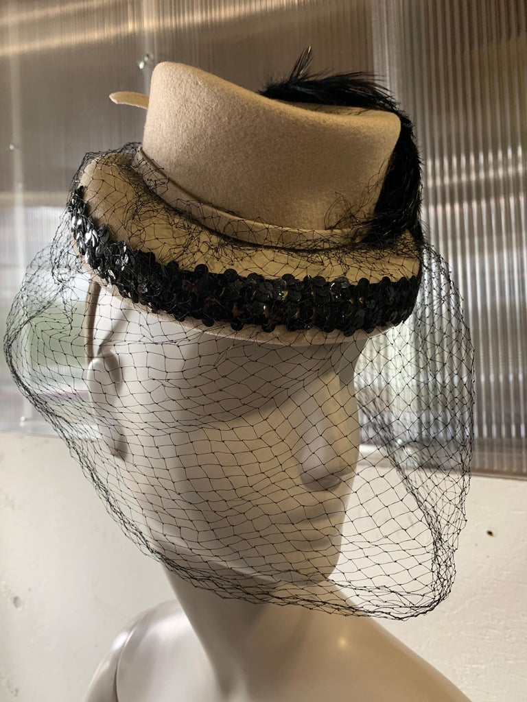 Gray 1940s New York Creations Ecru Wool Tilt Top Hat W/ Feathers Sequins & Veil For Sale