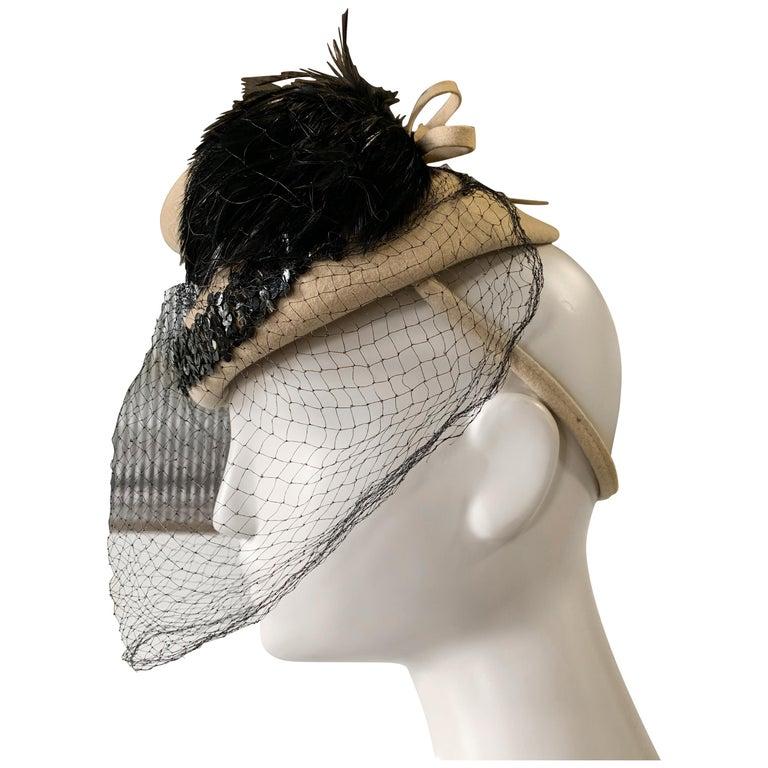 1940s New York Creations Ecru Wool Tilt Top Hat W/ Feathers Sequins & Veil For Sale