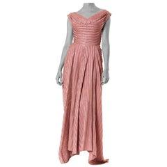 1940S NICHOLAS UNGAR Dusty Rose Rayon Blend Satin Plissé Stripe Gown With Train