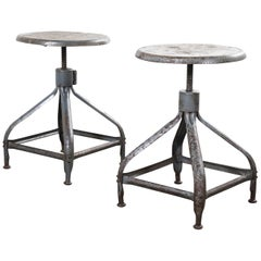 1940s Nicolle Pair of Low Industrial Swiveling Stools