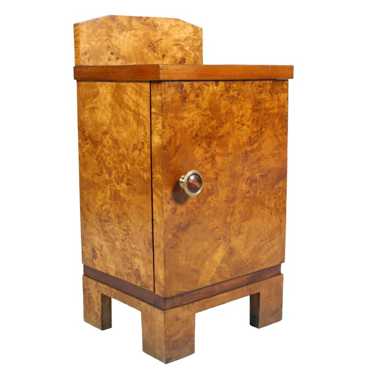 Nightstand Art Deco design, with drawer inside. Veneer entirely in elm briar, handle in gilded metal with briar-like bakelite. Manufacturer Busnelli-Milano Wax polished  Measures cm: H 67, add 12, W 42, D 50  From : AIS/Design (Associazione italiana