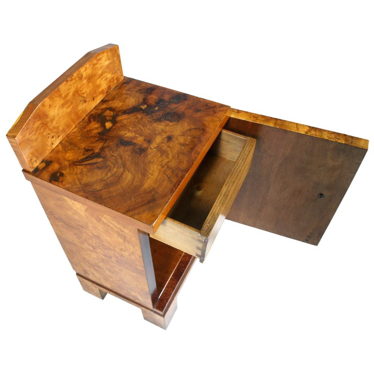 Burl 1940s Nightstand Bedside Table Art Deco Design, Busnelli Manufacturer For Sale