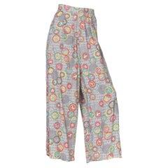 1940's Novelty Print Asian Inspired Rayon Pajama Pants