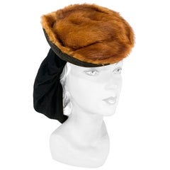 1940s Nutria Fur and Suede Leather Snood Hat