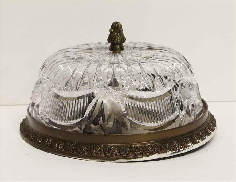 American 1940s NYC Waldorf Astoria Hotel Heavy Cut Crystal Flush Mount Fixture Light For Sale