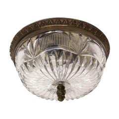 1940s NYC Waldorf Astoria Hotel Heavy Cut Crystal Flush Mount Fixture Light
