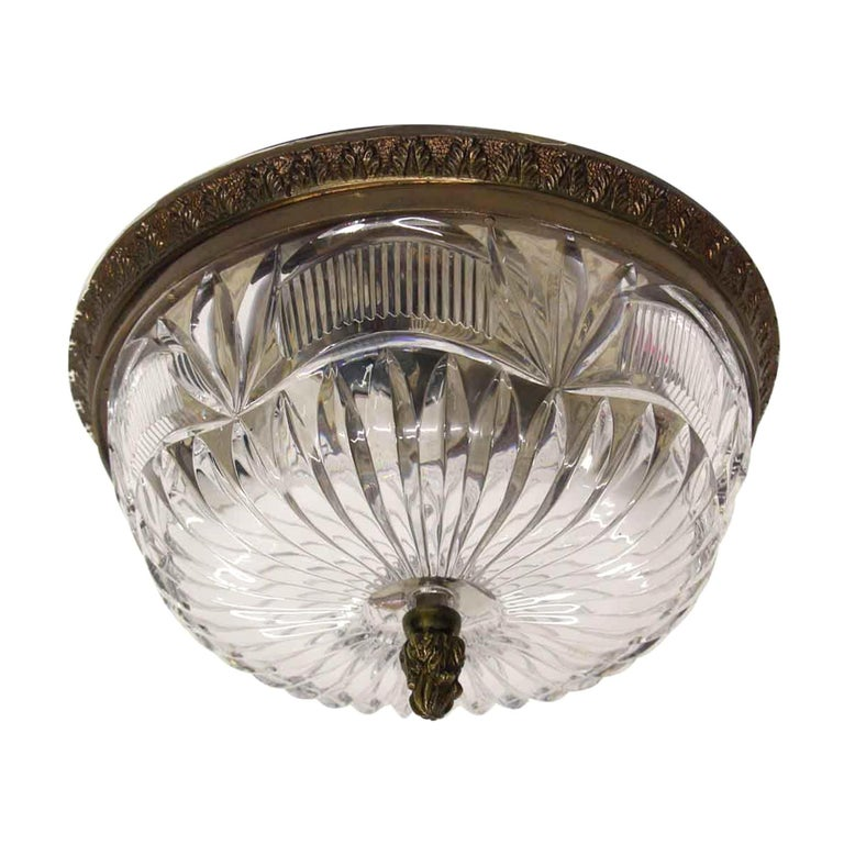 1940s NYC Waldorf Astoria Hotel Heavy Cut Crystal Flush Mount Fixture Light For Sale