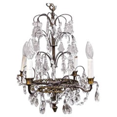 1940s NYC Waldorf Astoria Hotel Petite Art Deco Crystal and Brass Chandelier