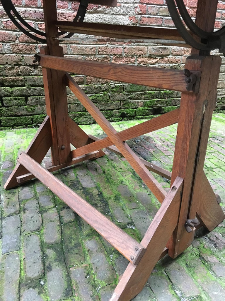 1940s Oak and Pine Drafting Table For Sale 8