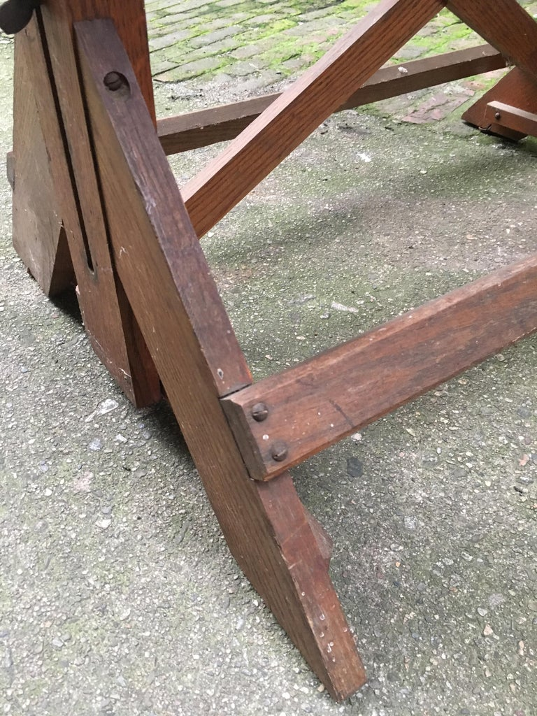 1940s Oak and Pine Drafting Table For Sale 9