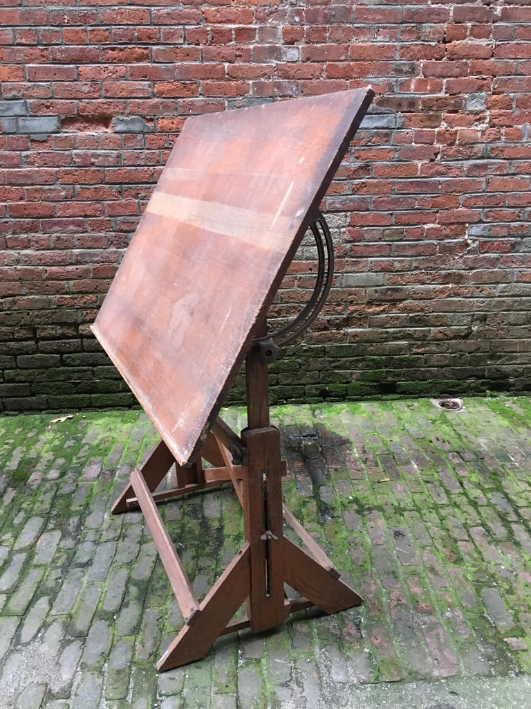 Industrial 1940s Oak and Pine Drafting Table For Sale