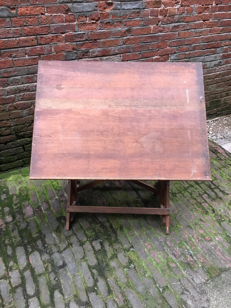 Iron 1940s Oak and Pine Drafting Table For Sale