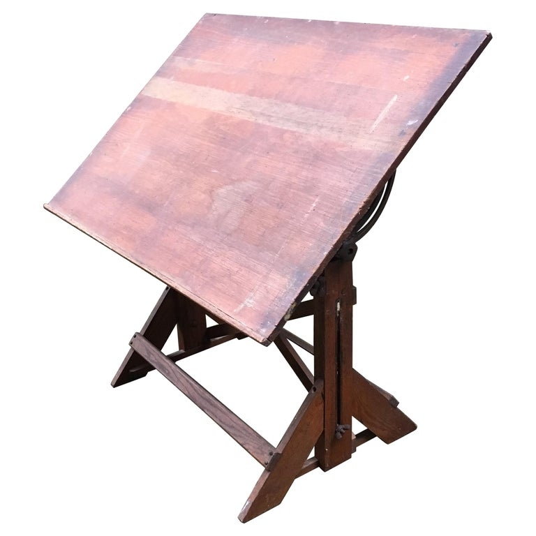1940s Oak and Pine Drafting Table For Sale