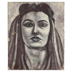 1940s Oil on Canvas Black and White Portrait of a Woman