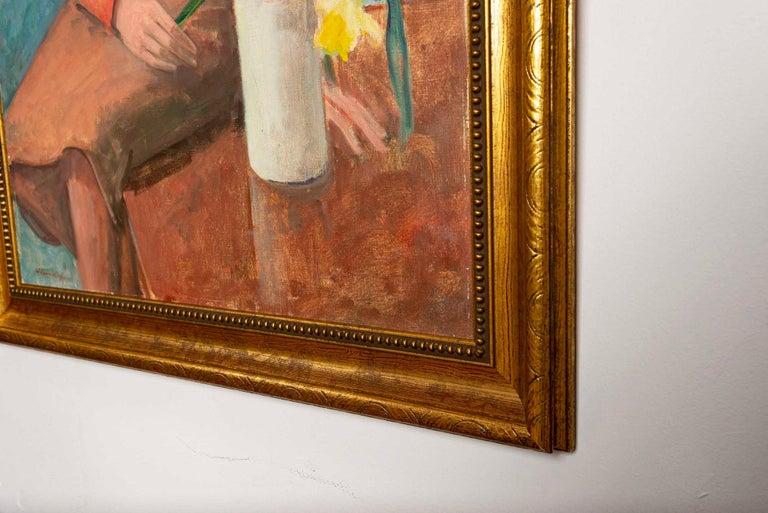 Mid-Century Modern 1940s Oil on Canvas Portrait