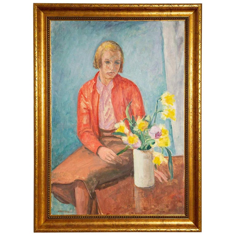 """1940s Oil on Canvas Portrait """"Girl with Flowers"""" by William Lonnberg For Sale"""