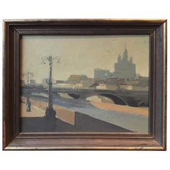1940s Oil Painting of European City