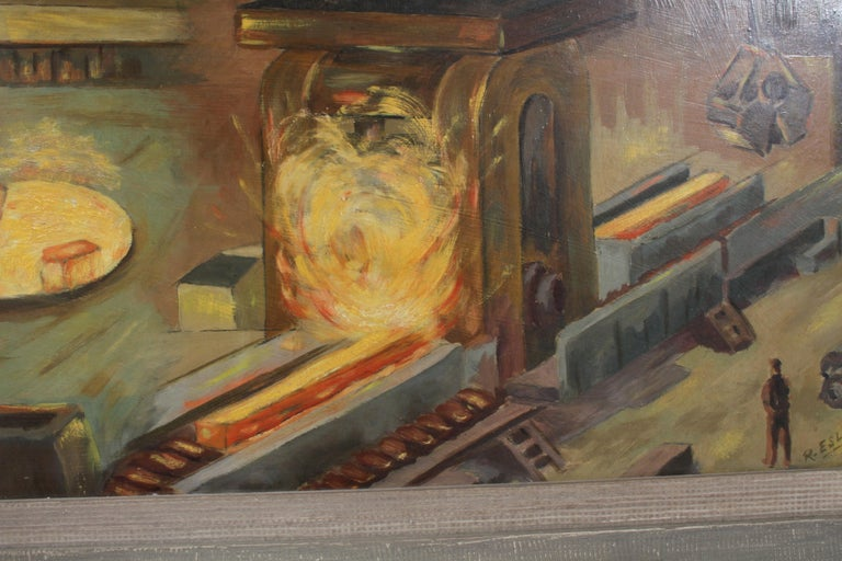 1940s Oil painting of Industrial Interior Scene of Steel Company Blast Furnace For Sale 5